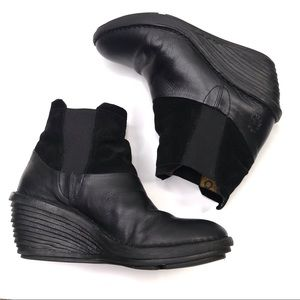 FLY LONDON Black Leather Wedge Ankle Booties EU 38